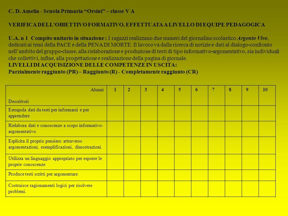 C. D. Amelia - Scuola Primaria Orsini – classe V A