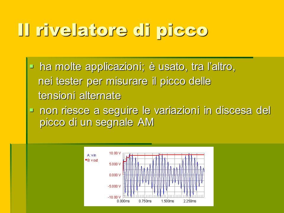Il rivelatore di picco ha molte applicazioni; è usato, tra l'altro,