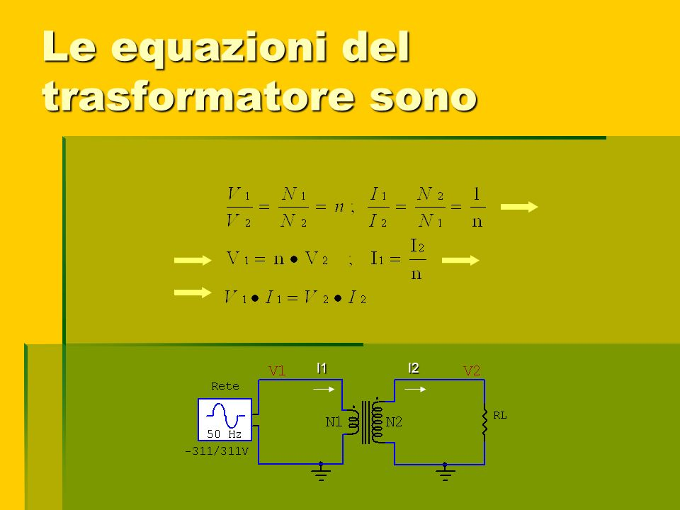 Le equazioni del trasformatore sono