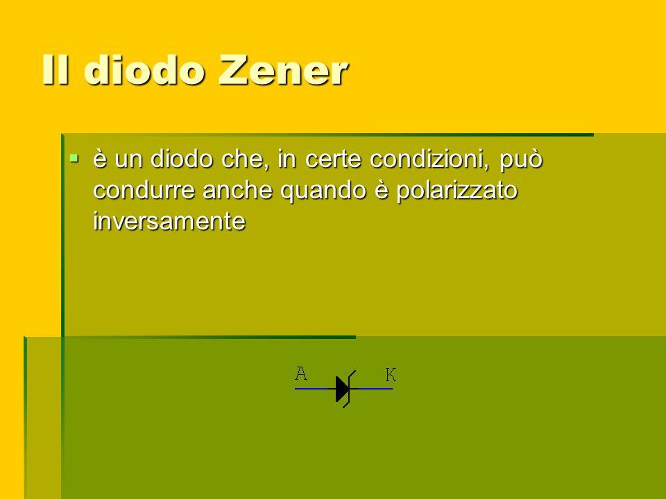 Il diodo Zener è un diodo che, in certe condizioni, può condurre anche quando è polarizzato inversamente.