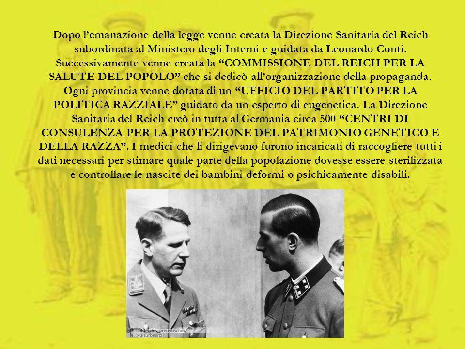 Dopo l'emanazione della legge venne creata la Direzione Sanitaria del Reich subordinata al Ministero degli Interni e guidata da Leonardo Conti.