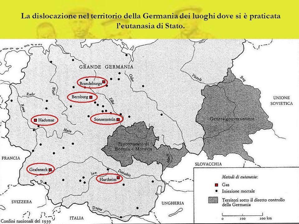 La dislocazione nel territorio della Germania dei luoghi dove si è praticata l'eutanasia di Stato.