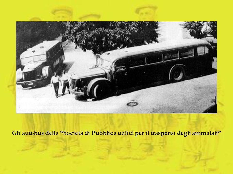 Gli autobus della Società di Pubblica utilità per il trasporto degli ammalati