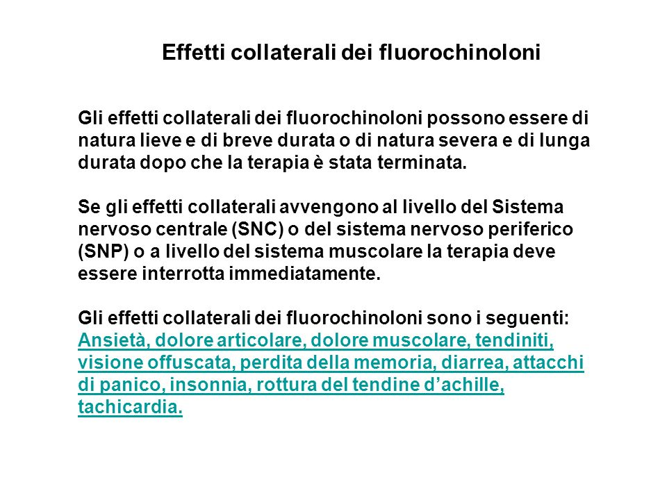 Effetti collaterali dei fluorochinoloni