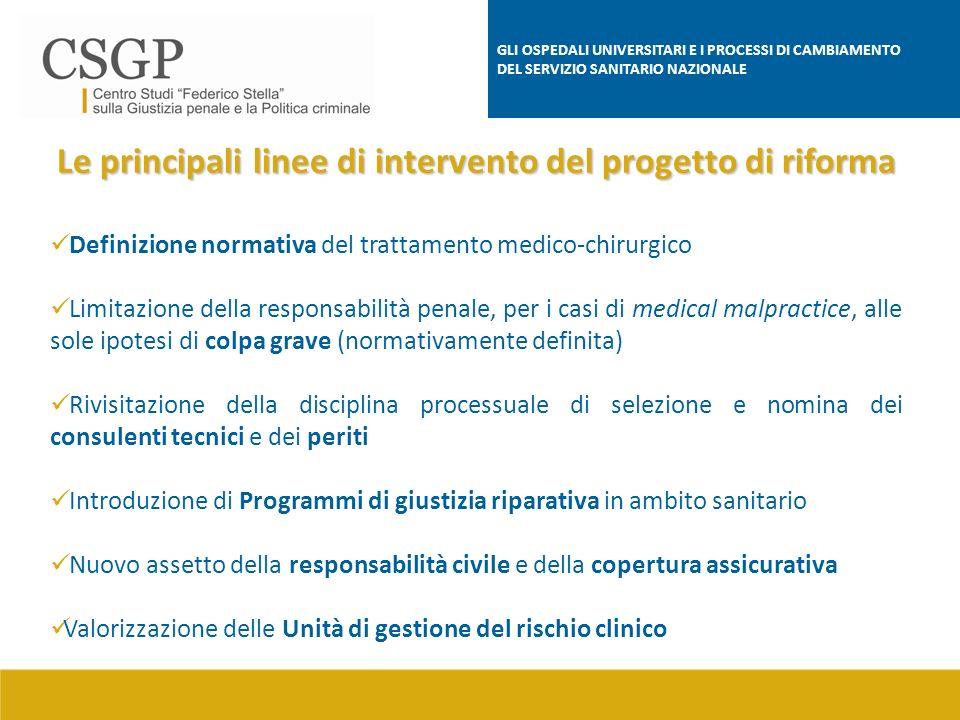 Le principali linee di intervento del progetto di riforma