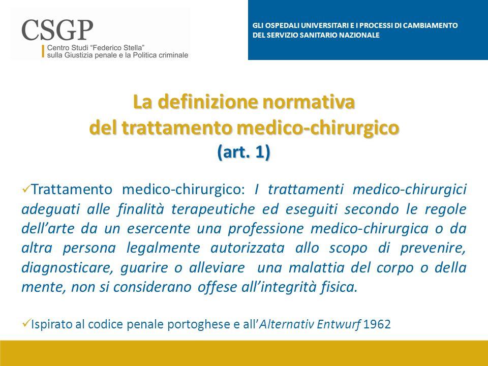 La definizione normativa del trattamento medico-chirurgico
