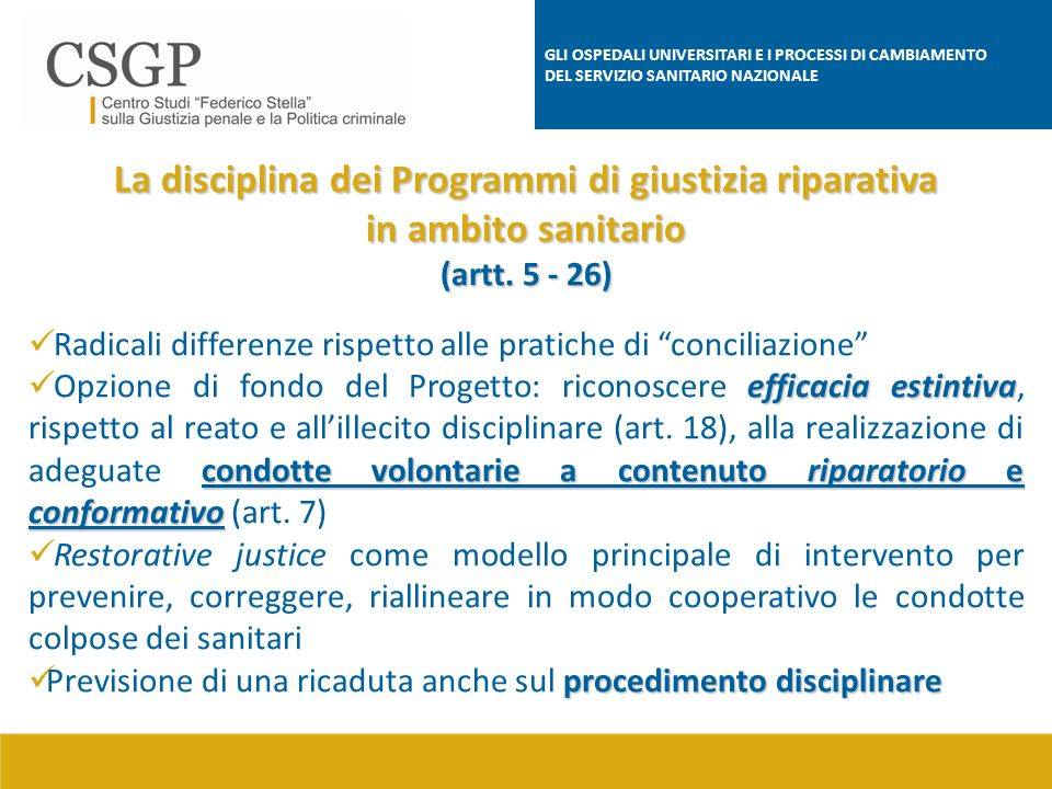 La disciplina dei Programmi di giustizia riparativa
