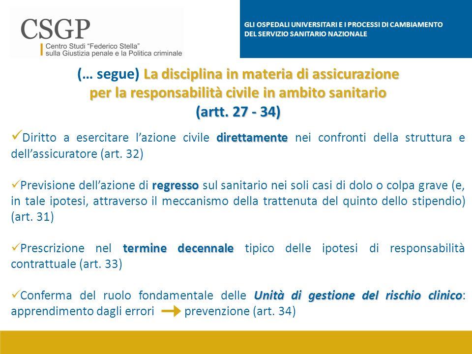 (… segue) La disciplina in materia di assicurazione
