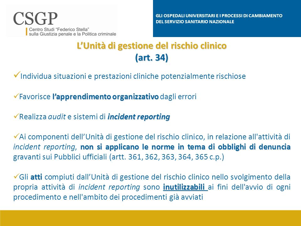 L'Unità di gestione del rischio clinico