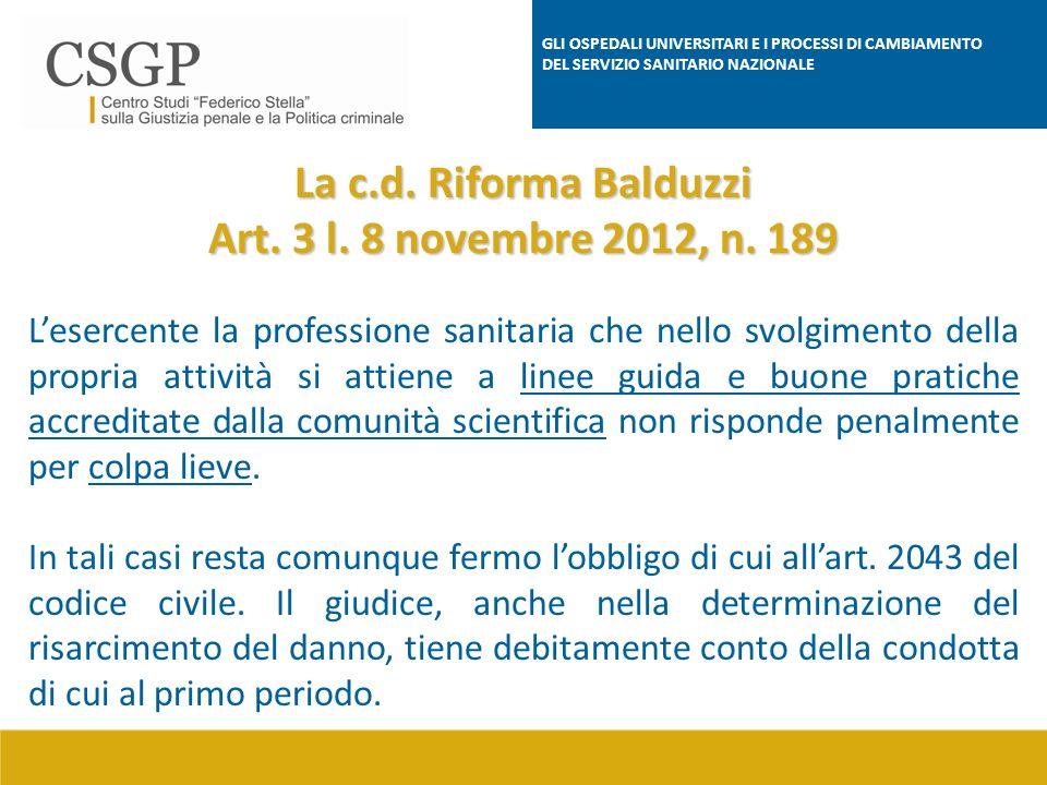 La c.d. Riforma Balduzzi Art. 3 l. 8 novembre 2012, n. 189