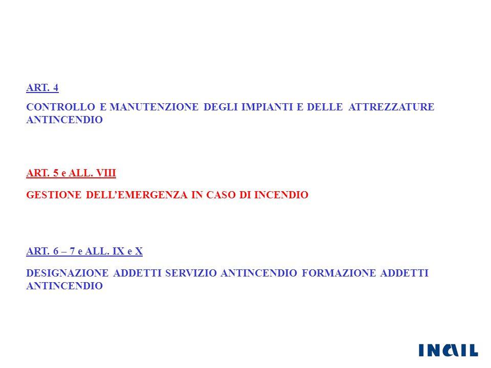 ART. 4 CONTROLLO E MANUTENZIONE DEGLI IMPIANTI E DELLE ATTREZZATURE ANTINCENDIO. ART. 5 e ALL. VIII.
