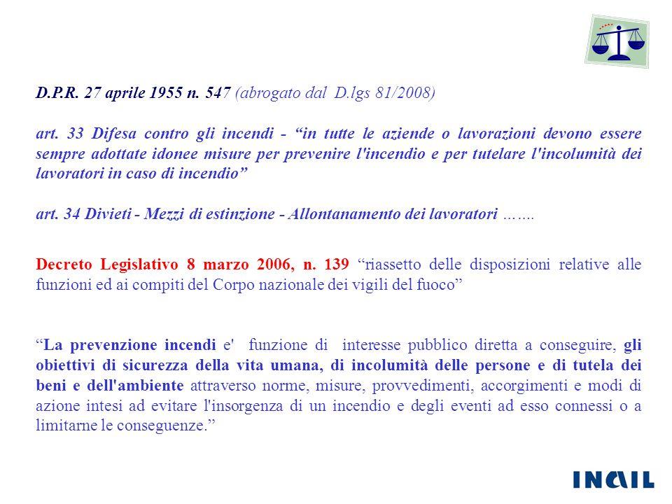 D.P.R. 27 aprile 1955 n. 547 (abrogato dal D.lgs 81/2008)