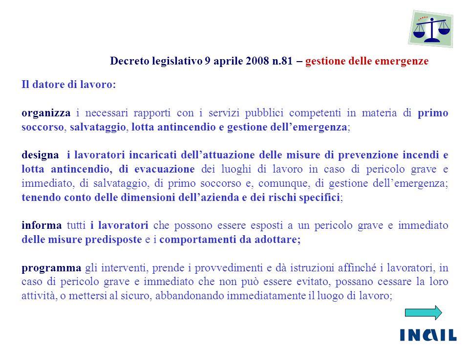 Decreto legislativo 9 aprile 2008 n.81 – gestione delle emergenze