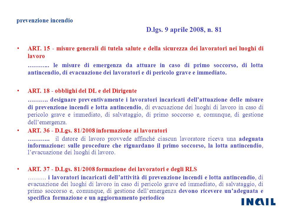 D.lgs. 9 aprile 2008, n. 81 prevenzione incendio