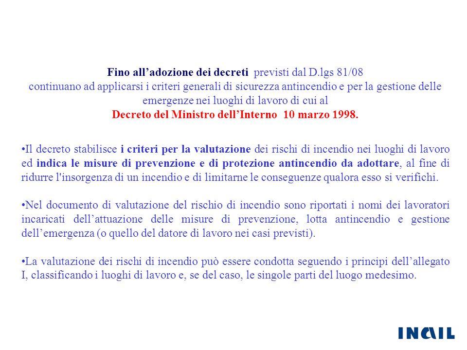 Decreto del Ministro dell'Interno 10 marzo 1998.