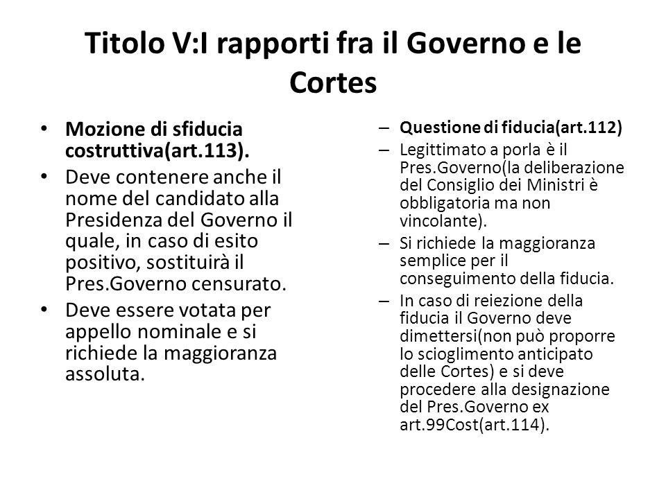 Titolo V:I rapporti fra il Governo e le Cortes