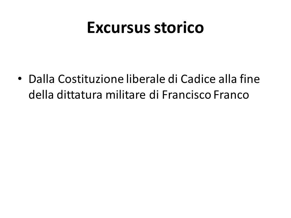 Excursus storico Dalla Costituzione liberale di Cadice alla fine della dittatura militare di Francisco Franco.