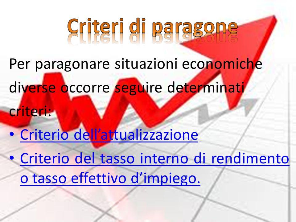 Criteri di paragone Per paragonare situazioni economiche