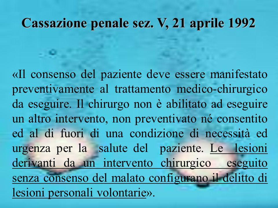 Cassazione penale sez. V, 21 aprile 1992