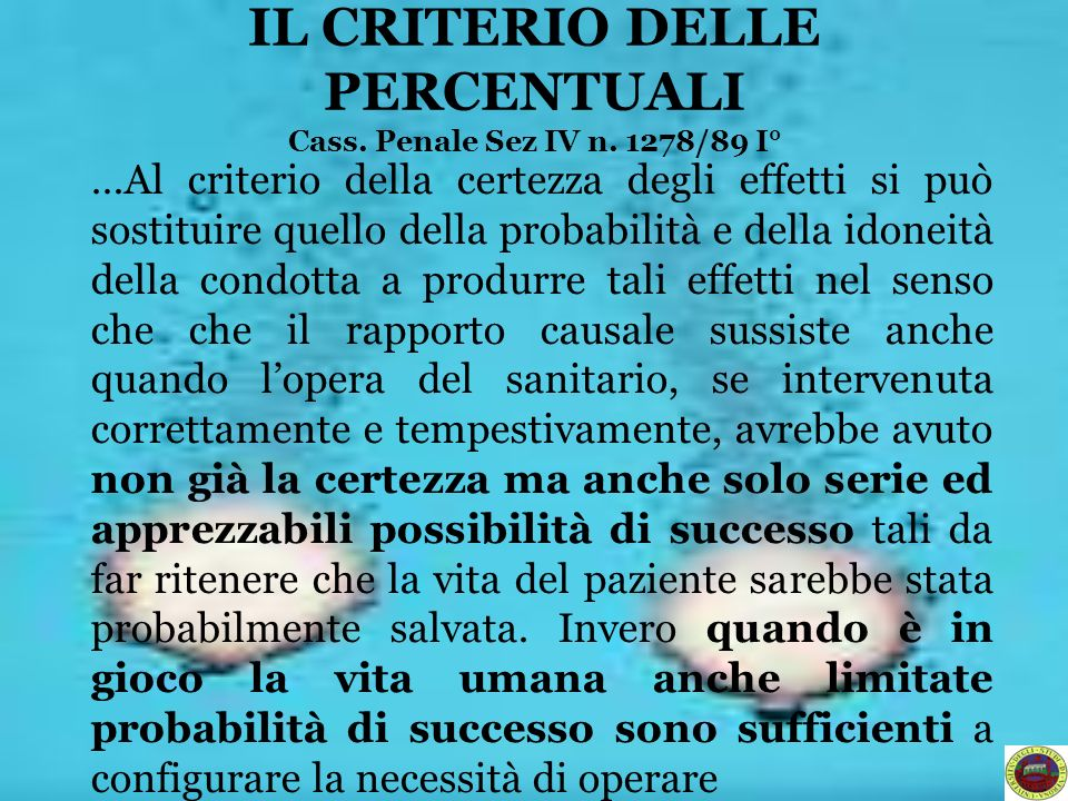 IL CRITERIO DELLE PERCENTUALI Cass. Penale Sez IV n. 1278/89 I°