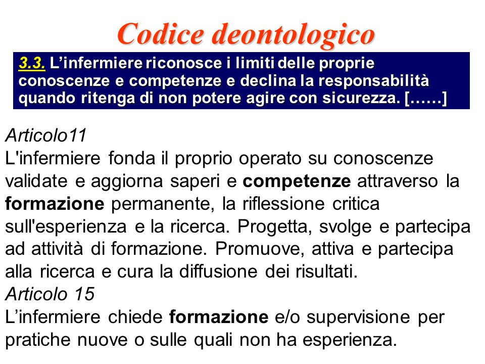 Codice deontologico Articolo11
