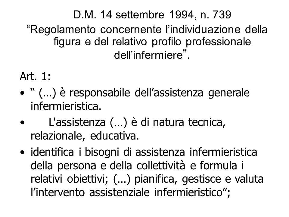 D.M. 14 settembre 1994, n. 739 Regolamento concernente l'individuazione della figura e del relativo profilo professionale dell'infermiere .