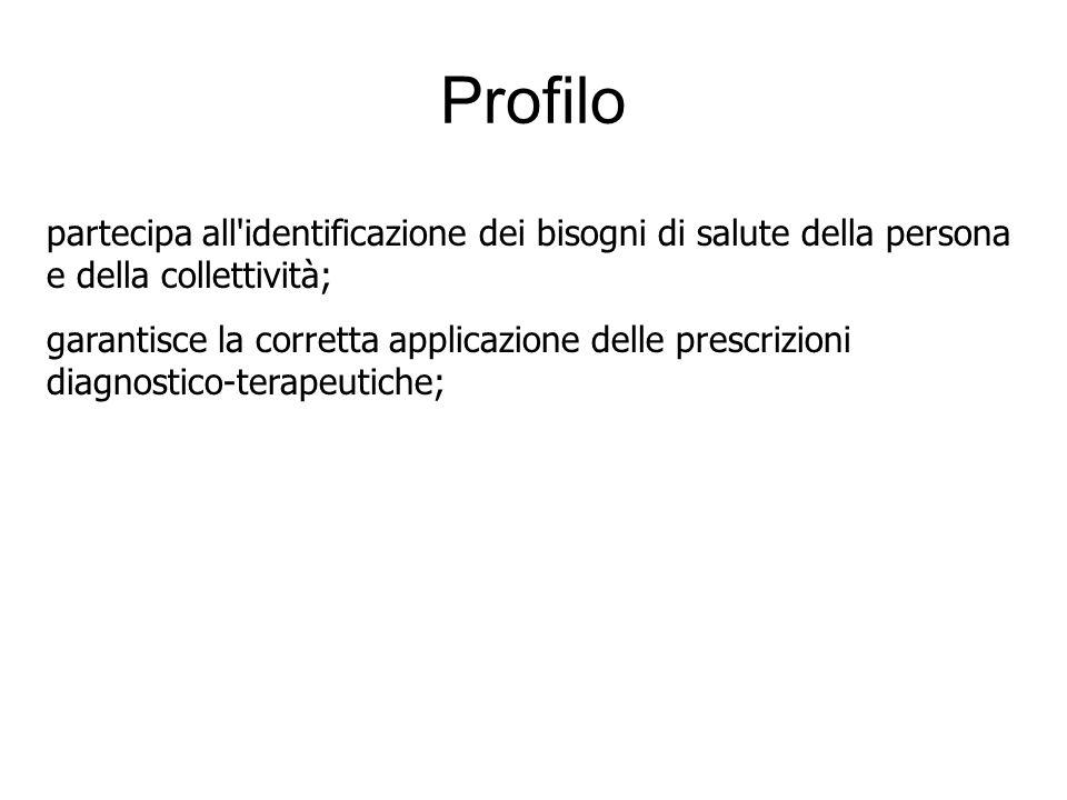 Profilo partecipa all identificazione dei bisogni di salute della persona e della collettività;