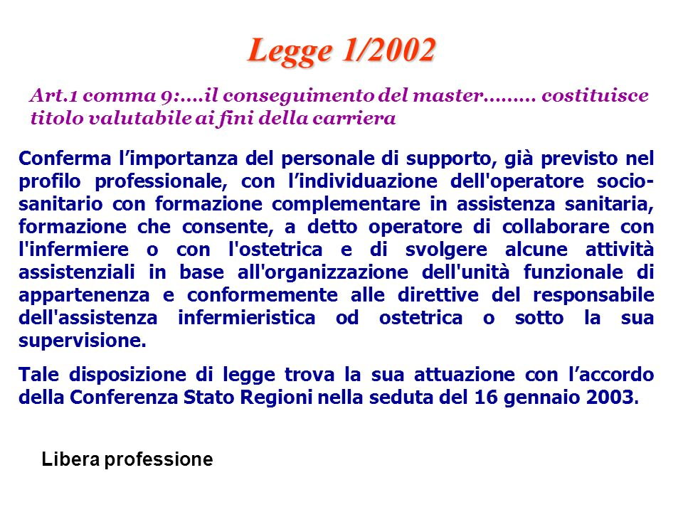 Legge 1/2002 Art.1 comma 9:….il conseguimento del master……… costituisce titolo valutabile ai fini della carriera.