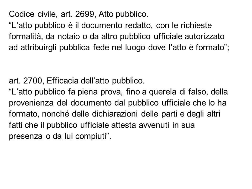 Codice civile, art. 2699, Atto pubblico.