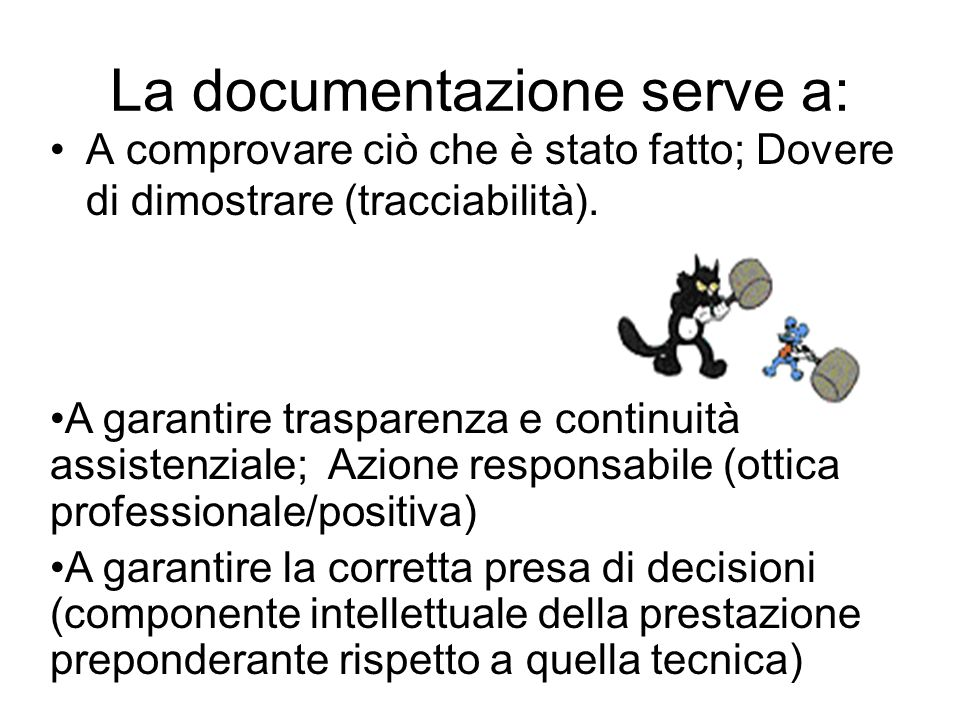 La documentazione serve a: