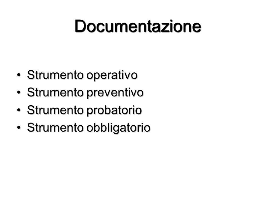 Documentazione Strumento operativo Strumento preventivo