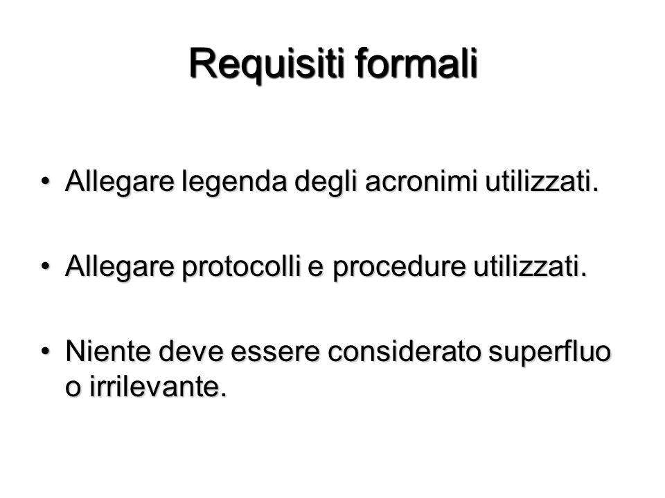 Requisiti formali Allegare legenda degli acronimi utilizzati.