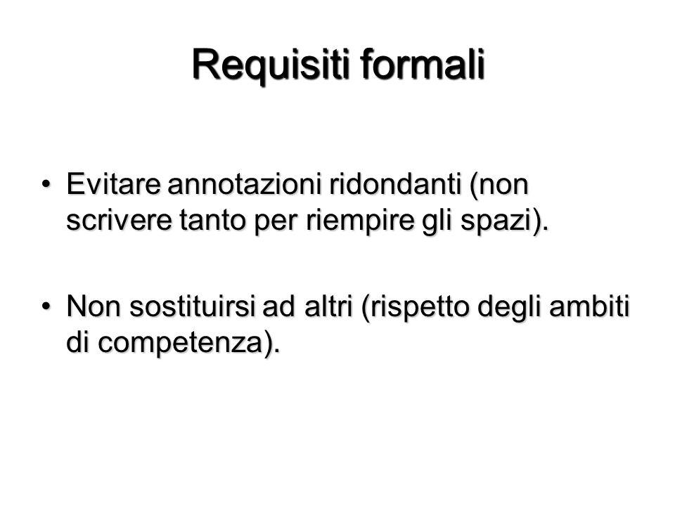 Requisiti formali Evitare annotazioni ridondanti (non scrivere tanto per riempire gli spazi).