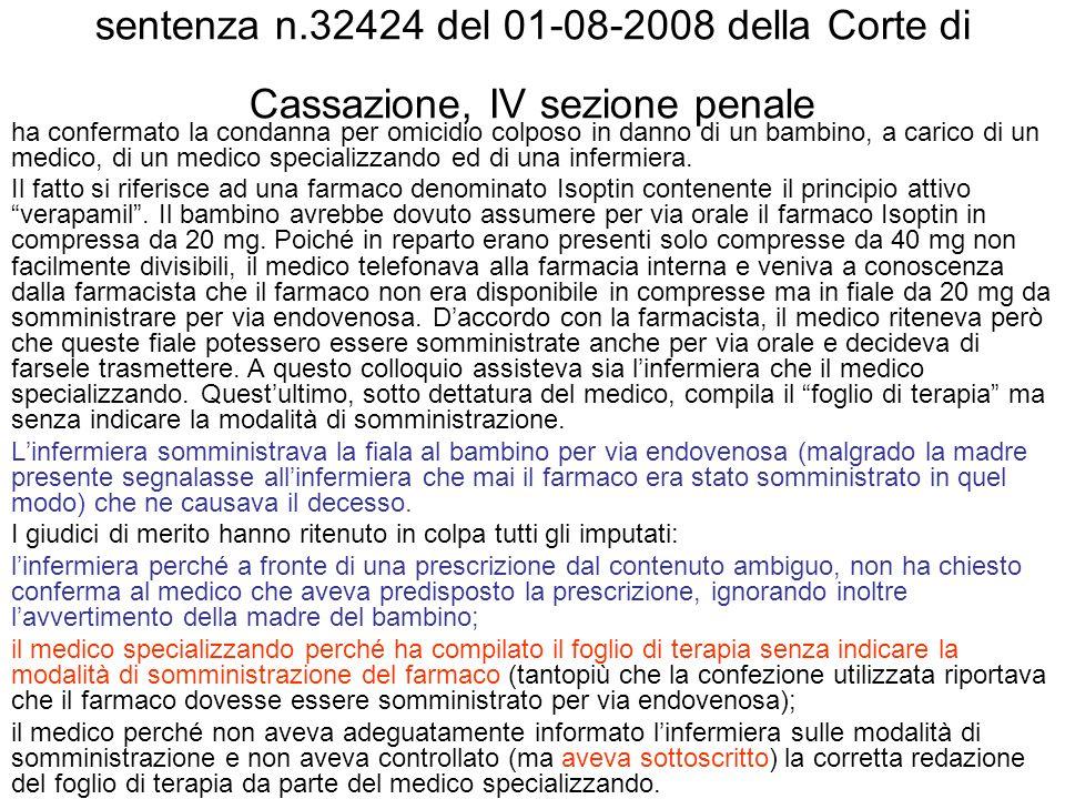 sentenza n.32424 del 01-08-2008 della Corte di Cassazione, IV sezione penale