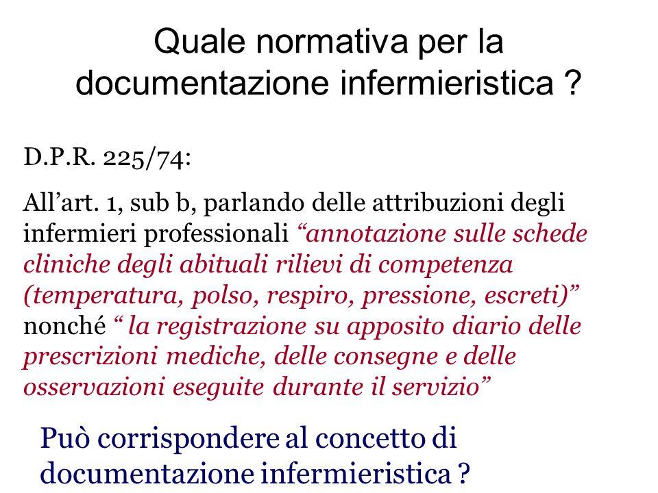 Quale normativa per la documentazione infermieristica