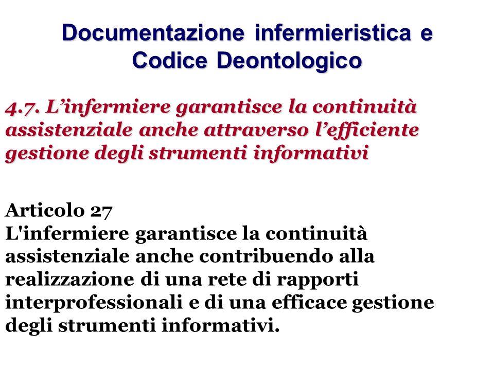 Documentazione infermieristica e Codice Deontologico