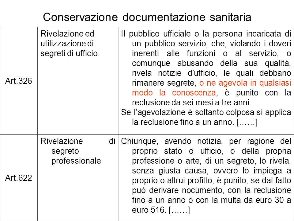 Conservazione documentazione sanitaria