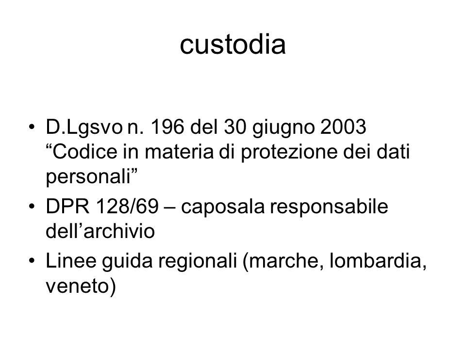custodia D.Lgsvo n. 196 del 30 giugno 2003 Codice in materia di protezione dei dati personali DPR 128/69 – caposala responsabile dell'archivio.