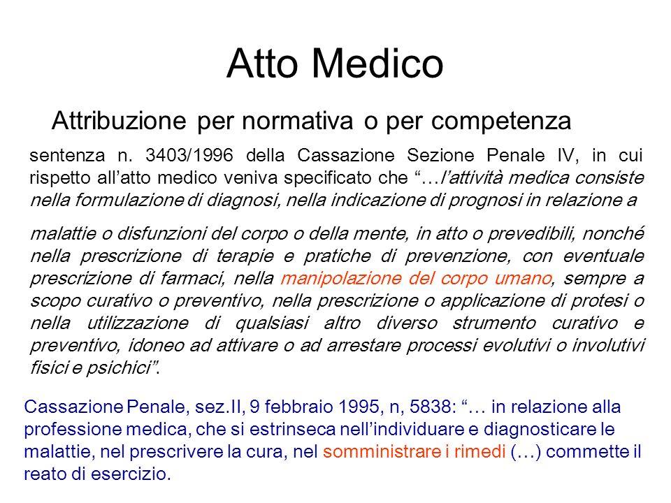 Atto Medico Attribuzione per normativa o per competenza