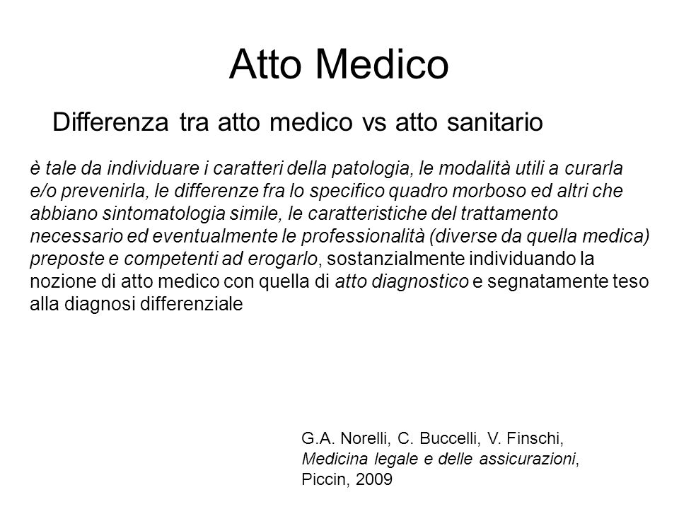 Atto Medico Differenza tra atto medico vs atto sanitario