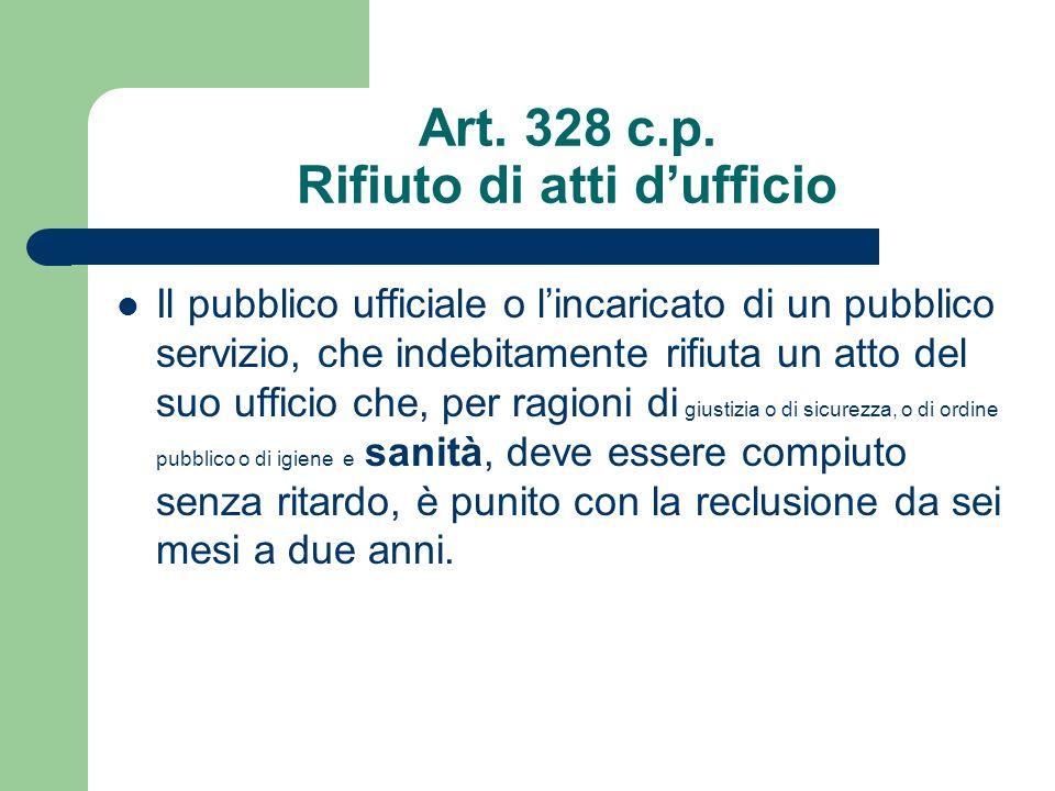 Art. 328 c.p. Rifiuto di atti d'ufficio