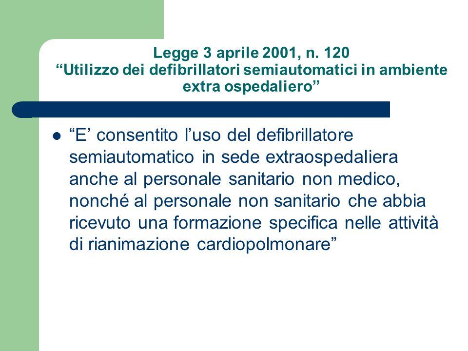 Legge 3 aprile 2001, n. 120 Utilizzo dei defibrillatori semiautomatici in ambiente extra ospedaliero