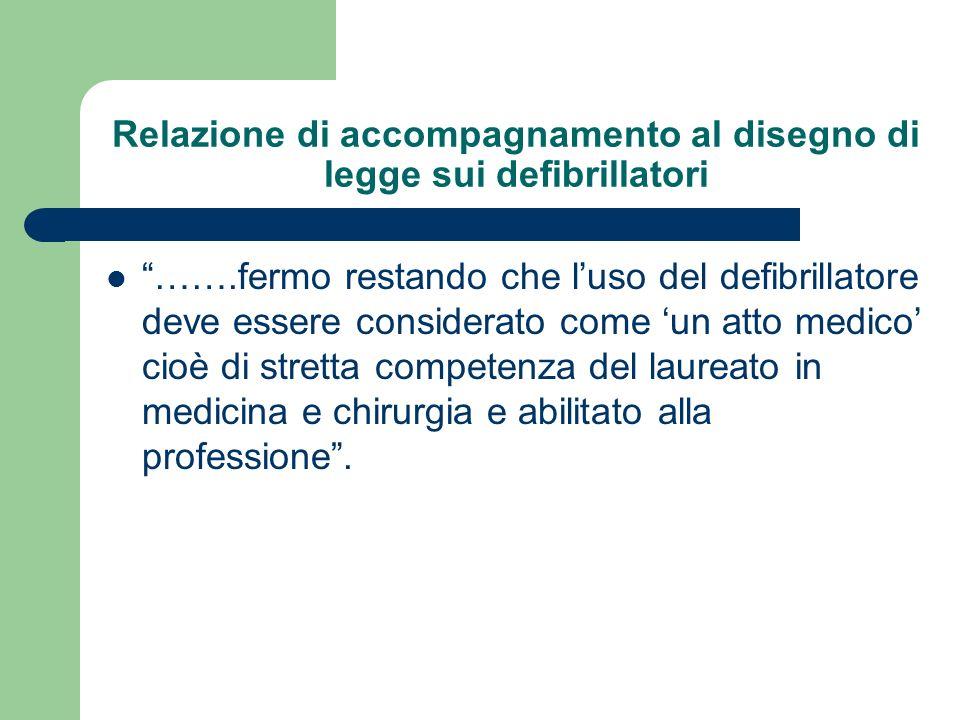 Relazione di accompagnamento al disegno di legge sui defibrillatori