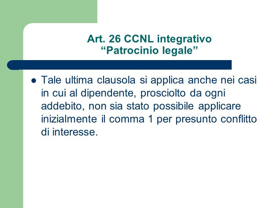 Art. 26 CCNL integrativo Patrocinio legale