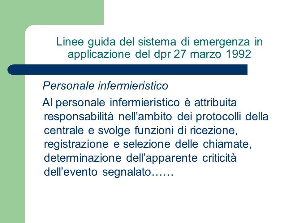 Linee guida del sistema di emergenza in applicazione del dpr 27 marzo 1992