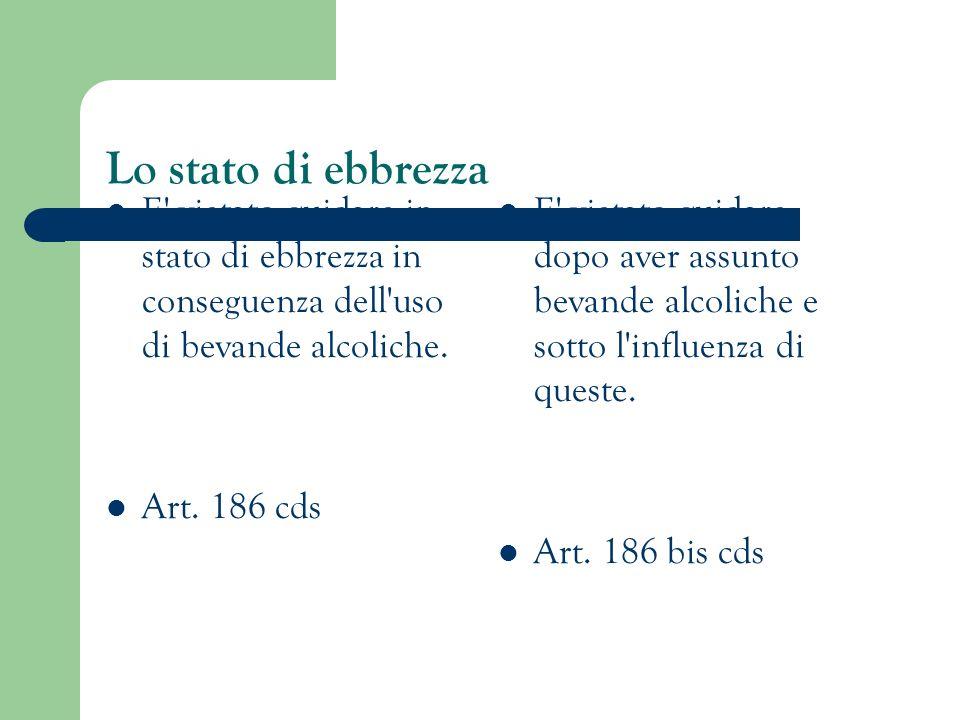 Lo stato di ebbrezza E vietato guidare in stato di ebbrezza in conseguenza dell uso di bevande alcoliche.