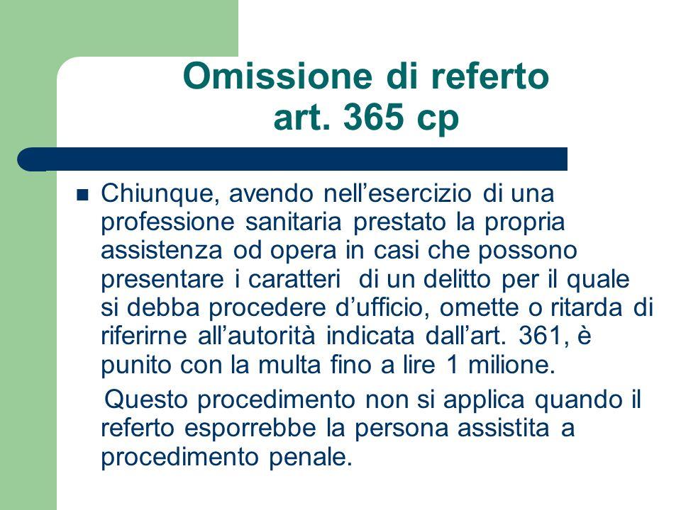 Omissione di referto art. 365 cp