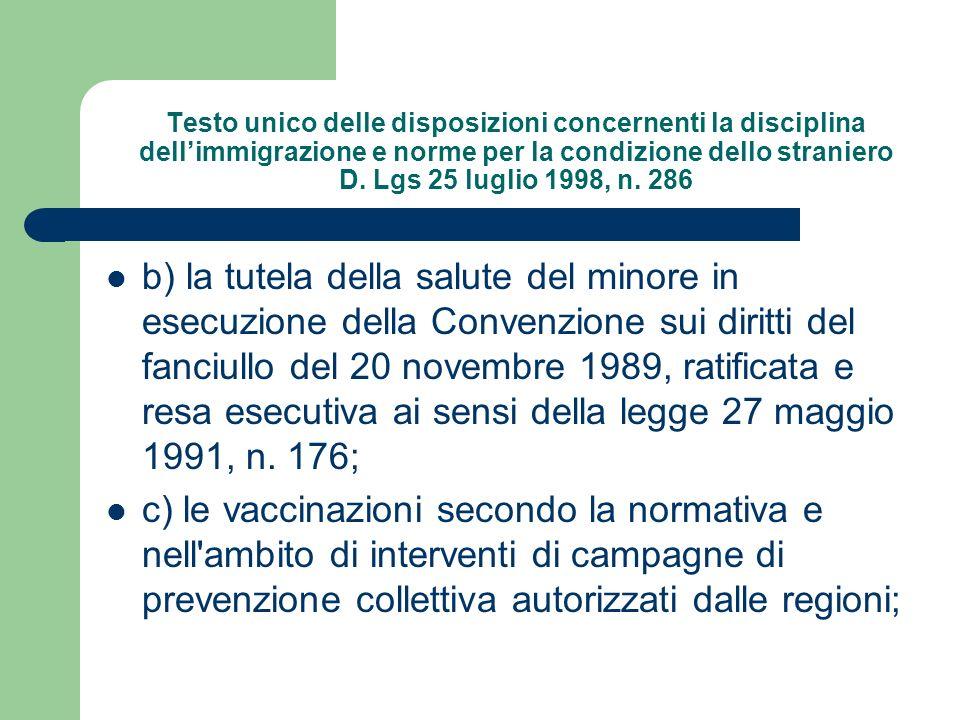 Testo unico delle disposizioni concernenti la disciplina dell'immigrazione e norme per la condizione dello straniero D. Lgs 25 luglio 1998, n. 286