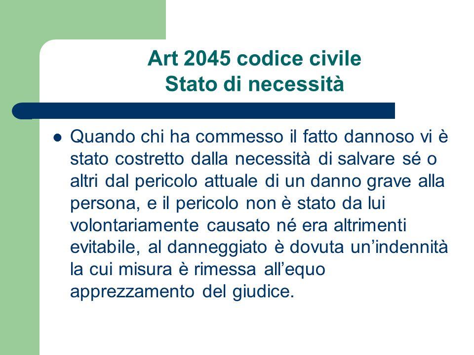 Art 2045 codice civile Stato di necessità