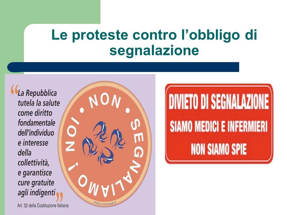 Le proteste contro l'obbligo di segnalazione